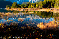 Sunrise.  Upper Kananaskis Lake in Peter Lougheed Provincial Park.